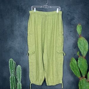 Flax Pear Green Linen Cropped Cargo Pants Jogger L